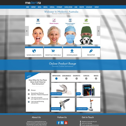 Front Page Design for Medical Equipment Company