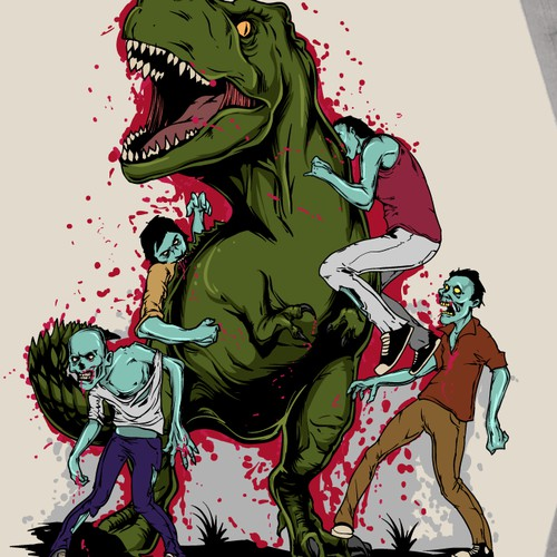 Dinosaur versus zombies! Who will win?!