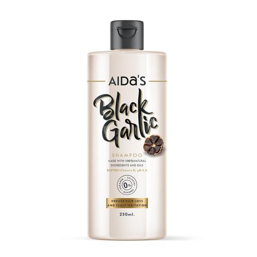 Label design for shampoo with black garlic