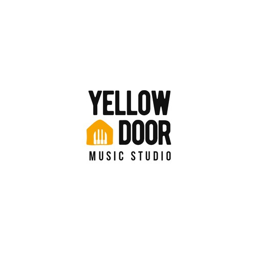 Yellow Piano and Door Logo for a Music Studio