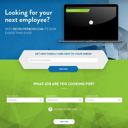 Landing page design for Recruiterboss