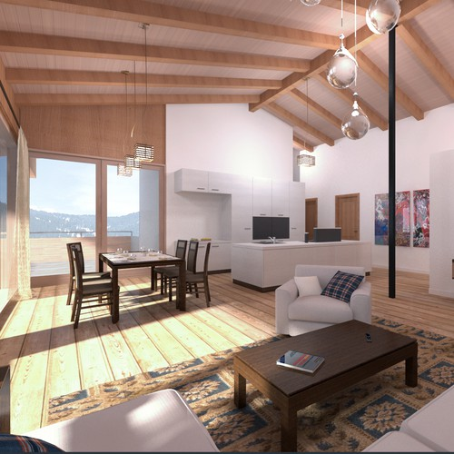 Mountain cabin interior renderings