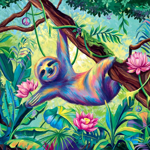 A colorful sloth illustration