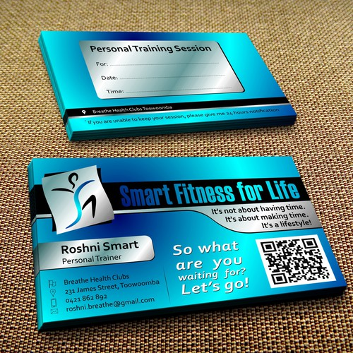Creat a vibrate and eye catching business cards for Smart Fitness for Life