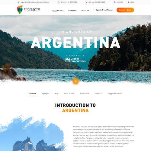 WebPage Design for a Travel Company in Latin America