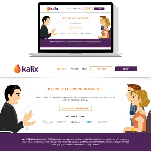 Design a clean, stylist and beautiful single page website for Kalix Practice Management Software