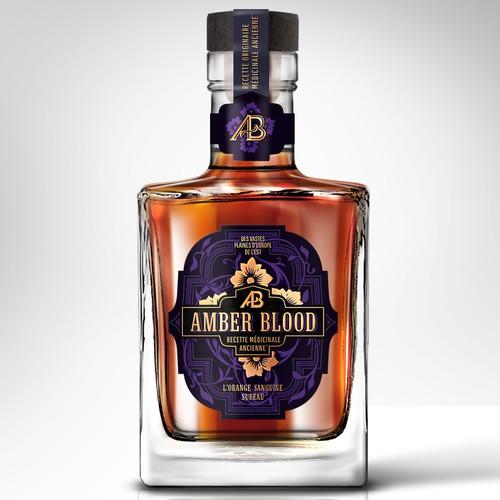 Label Design for an Luxury amber Liquor