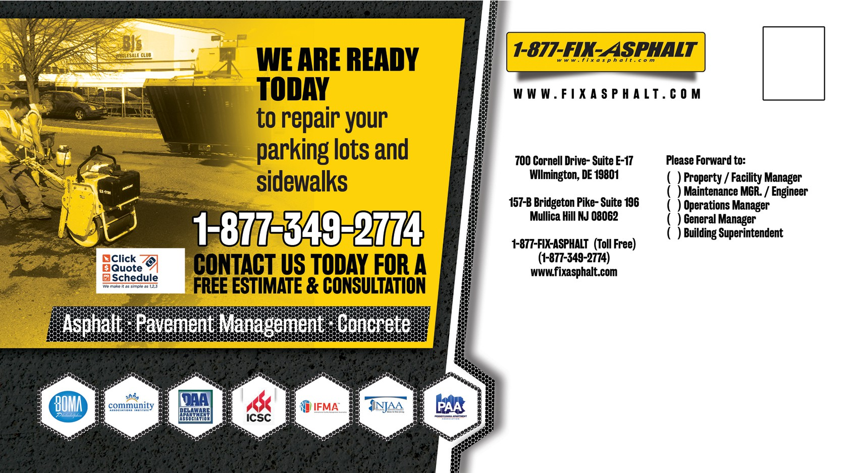 Post Card Design for an asphalt and concrete company