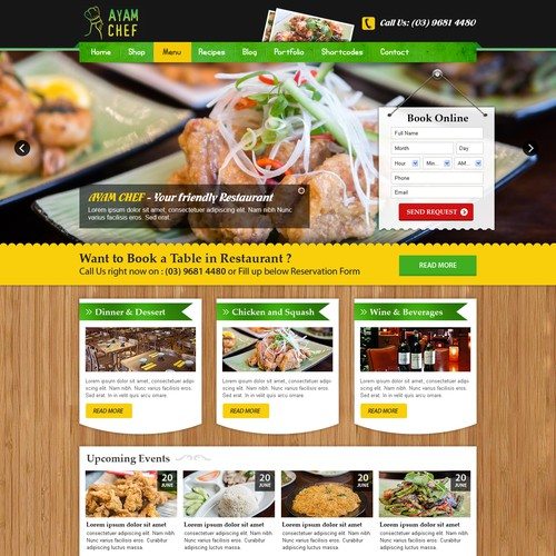 Create an vintage style website for a restaurant