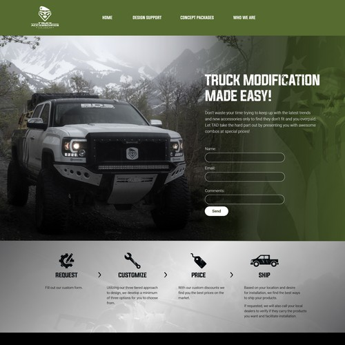 Website design for truck industry