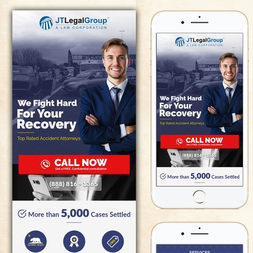 Car Accident Attorney Landing Page for MOBILE ONLY