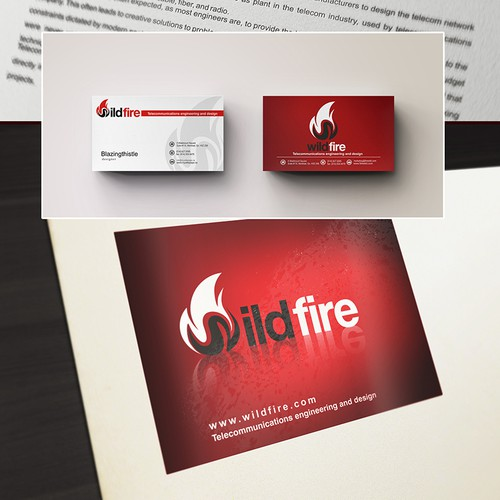 logo and business card for Wildfire