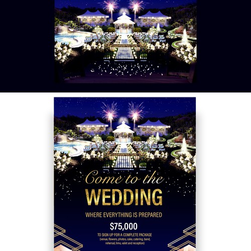 Beautiful wedding venue design and flyer design