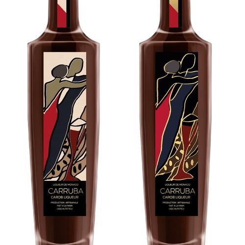 Design a Premium liqueur label from Monaco: 'Carruba'