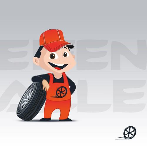 Mascot for a german tirestore