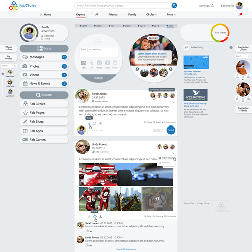 Social Networking User Interface
