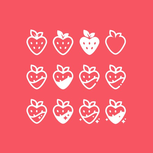 Strawberry heart icon variations