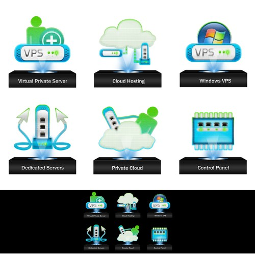 Illustration icon set for HomePage and prominent inside pages - Web Hosting