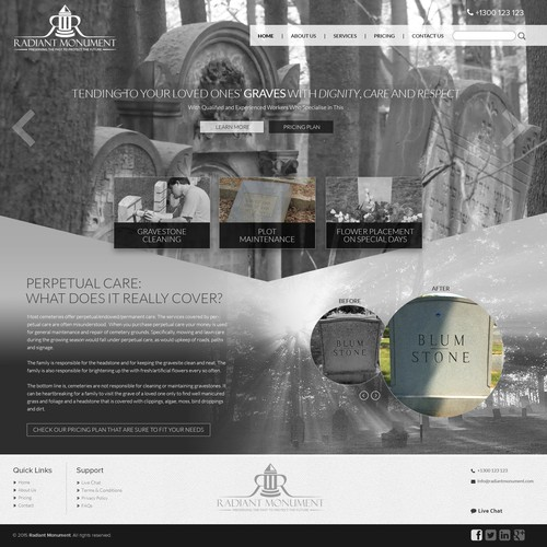 Create an eye-popping website for a monument cleaning service
