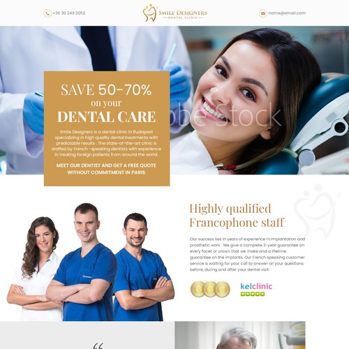 Landing page of a DENTAL CLINIC