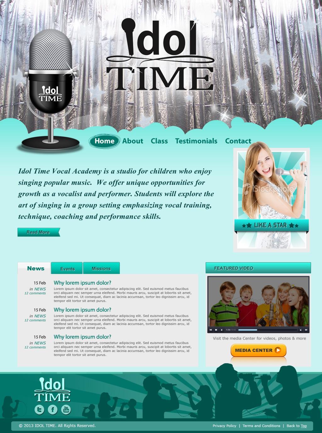 website design for Idol Time Vocal Academy