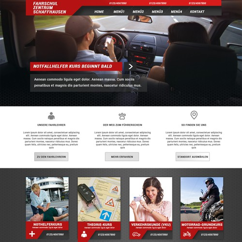 Homepage for a driving school