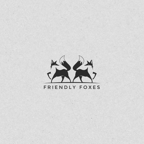 Friendly Foxes Cool Logo
