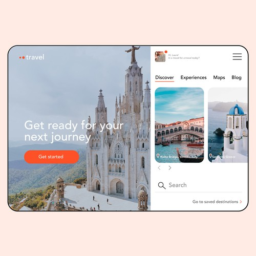 Travel app mobile website design