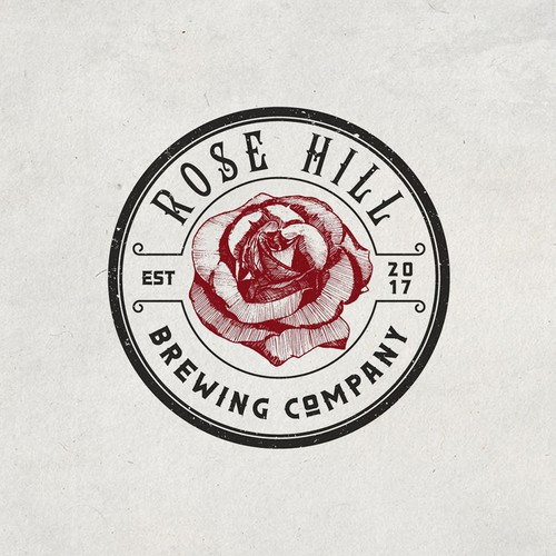 classic rose illustration for a craft brewery and gastropub!