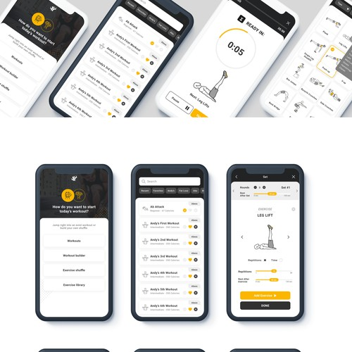 App Design for a workout card company