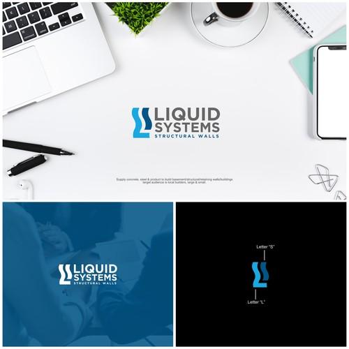 "Letter ""L"" + Letter ""S"" with liquid accent logo concept."