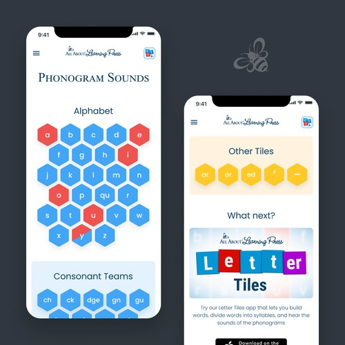 Design for the app that allows users of reading and spelling curriculum to hear the sounds of the letters