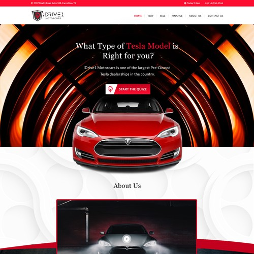 Pre-Owned Tesla Quiz Landing Page Design