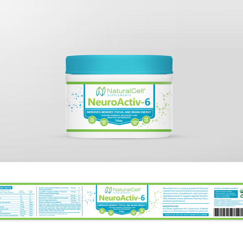 Create a strongly branded label for a new vitamin and supplement product