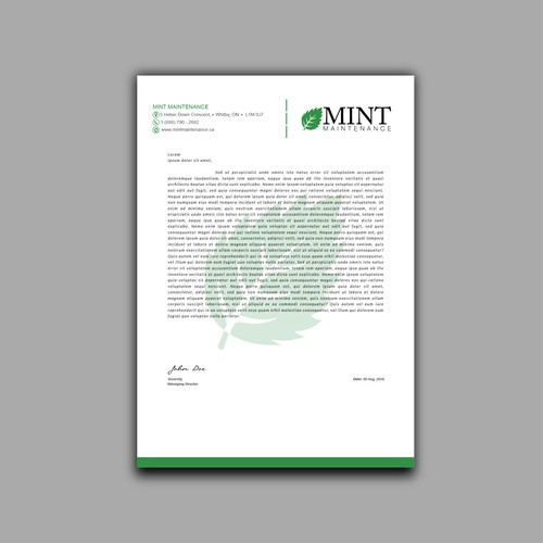 Simple letterhead design for MINT Maintenance