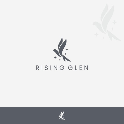 simple logo for rising glen