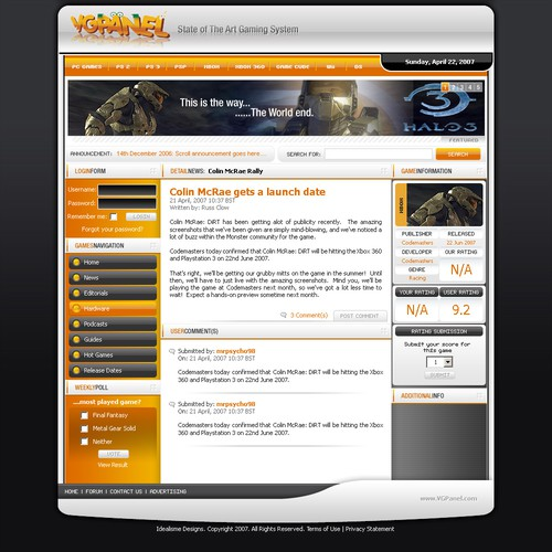 VGPanel Gaming Site Template