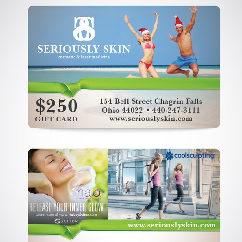 Holiday gift card design for a Cosmetic Medicine practice