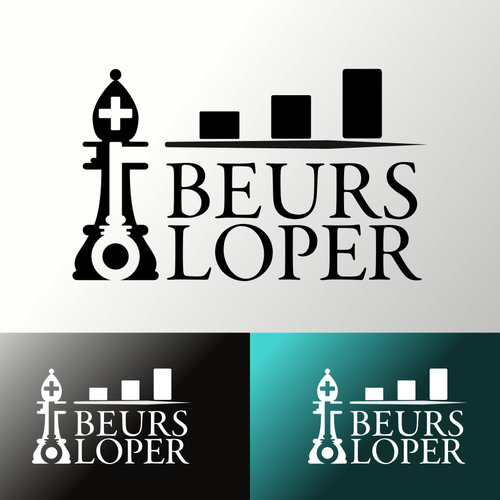 Create a Logo for BeursLoper, combining finance, chess and a key!