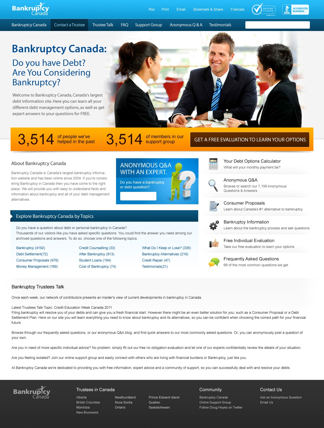 Create the next website design for Bankruptcy Canada