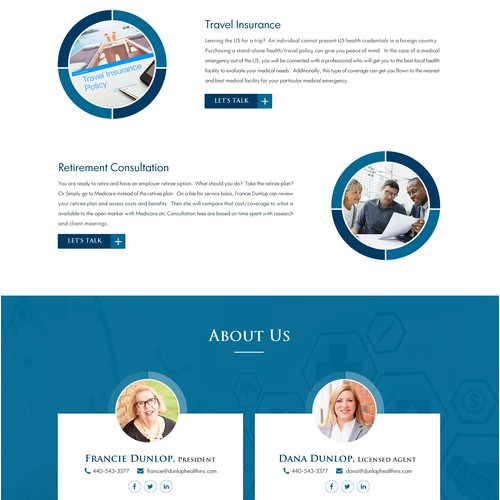 Modern/business professional look Medical Insurance website