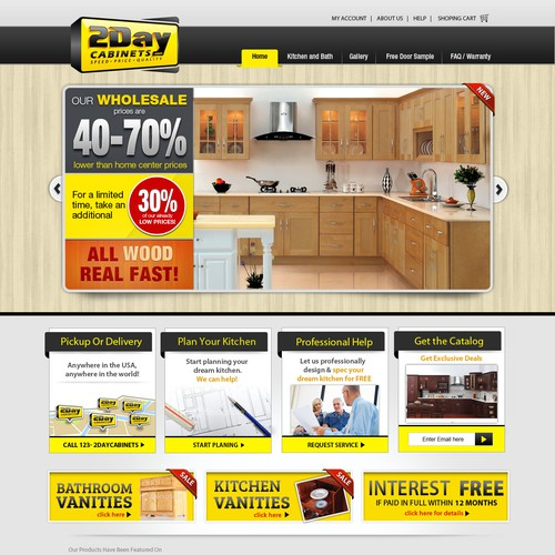 Help 2DayCabinets.com with a new website design