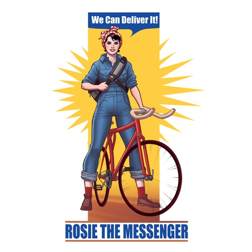 IllustrateRosie the Riveter standing astride a bicycle, with a messenger bag over her shoulder, for my T-Shirt