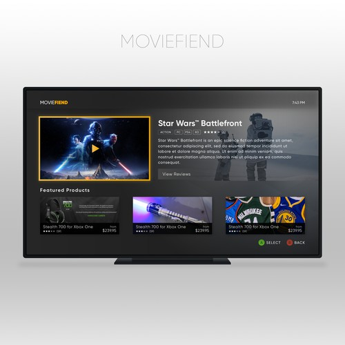 Movie Trailer App Design Xbox One