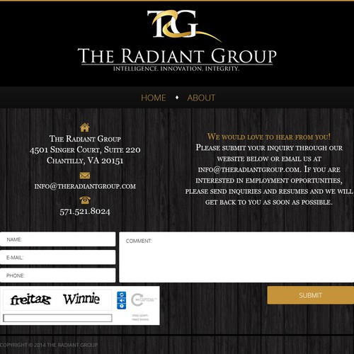 Create a simple, elegant website for The Radiant Group