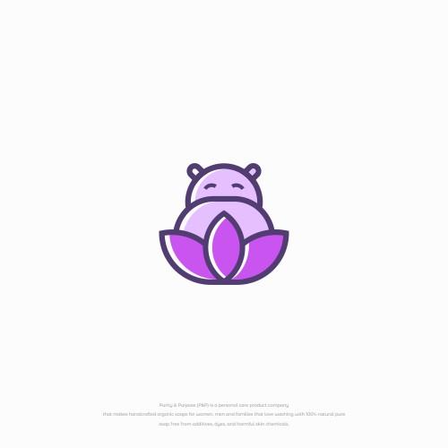 simple fun hippo logo with a lotus