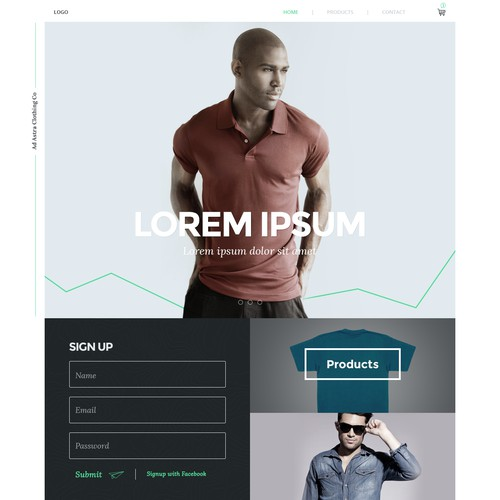 Landing page design concept for a clothing company