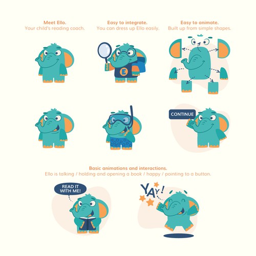 Elephant character concept for kids literacy app [turquoise color variant]