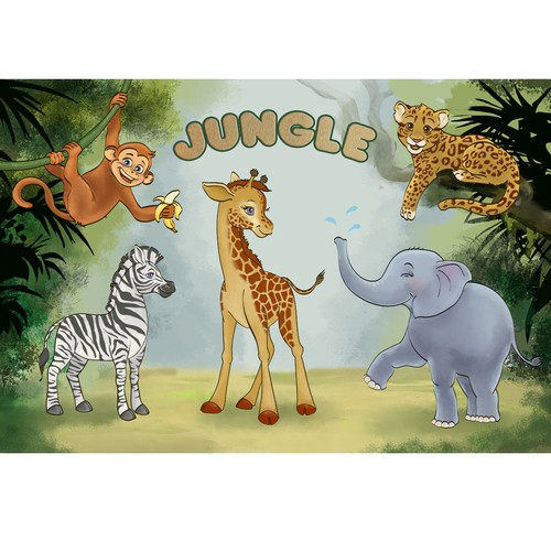 Design fun and engaging baby placemats with animal scenes!