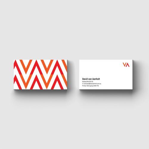 VA logo design and business card.